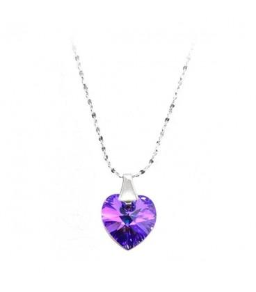 ékszer webshop Sötétlila Swarovski kristályos szív medál, ezüst