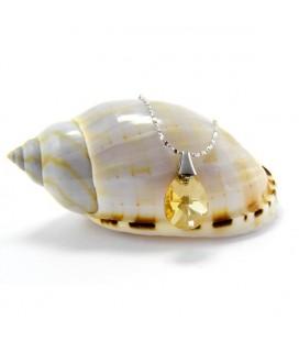 Aranyszínű Swarovski kristályos csepp medál, 925 ezüst lánccal
