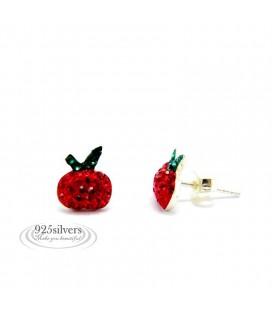 ékszer webshop Piros kristályos ezüst alma fülbevaló