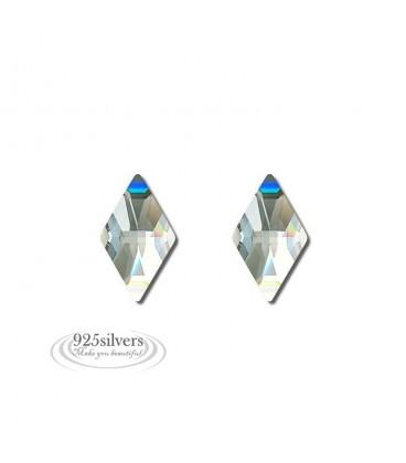 ékszer webshop 925 ezüst, Swarovski kristályos rombusz fülbevaló