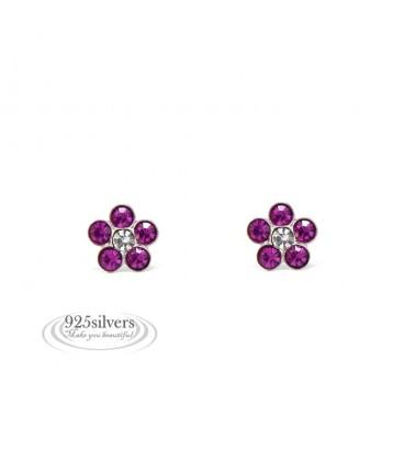 ékszer webshop 925 ezüst, Swarovski kristályos, rózsaszín virág