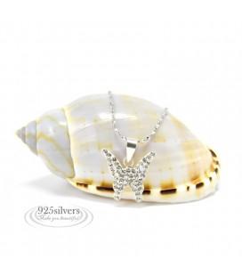925 ezüst Swarovski kristályos pillangó medál, 925 ezüst lánccal