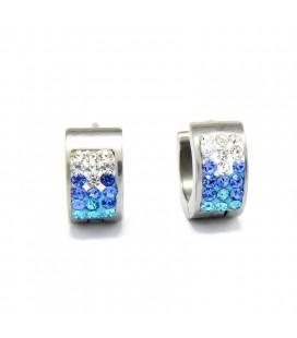 Kék kristályos, színátmenetes nemesacél karika fülbevaló