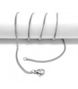 Lapos szemekből álló nemesacél nyaklánc (50 cm)