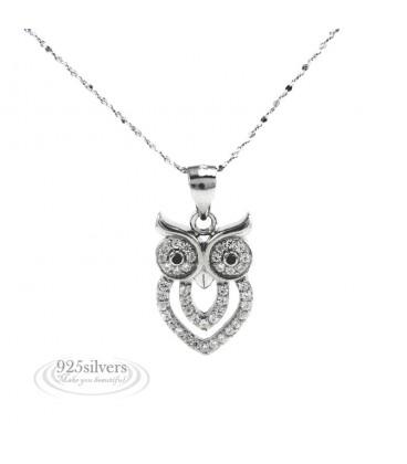 ékszer webshop 925 ezüst bagoly medál nyaklánccal