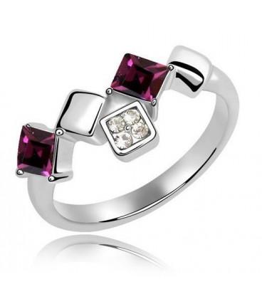 ékszer webshop Elegáns, négyzet alakú kövekkel díszített gyűrű