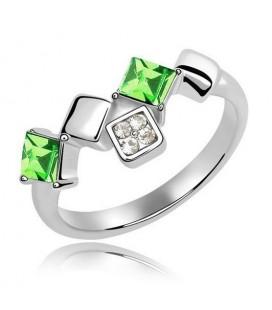 Elegáns, négyzet alakú kövekkel díszített gyűrű - zöld
