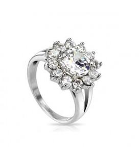 Cirkónia virágos nemesacél gyűrű