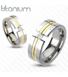 Arany sávos titánium gyűrű