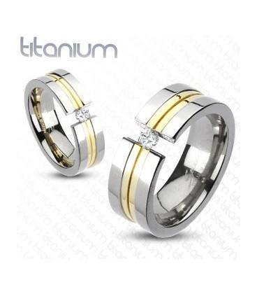 ékszer webshop Arany sávos titánium gyűrű