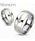 Titánium gyűrű zircon kővel