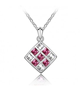 ékszer webshop Elegáns mozaik nyaklánc rózsaszín kövekkel