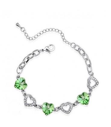 ékszer webshop Zöld kristályos szíves karkötő