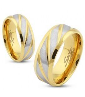 Arany-ezüst színű gyűrű nemesacélból