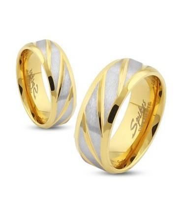 ékszer webshop Arany-ezüst színű gyűrű nemesacélból