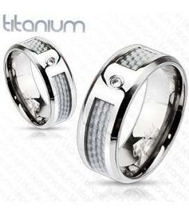 Titánium gyűrű szürke karbon betéttel