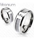 ékszer webshop Titánium gyűrű szürke karbon betéttel