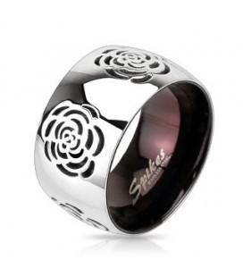 Rózsa mintás nemesacél gyűrű - bordó