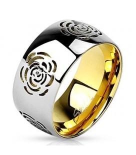 Rózsa mintás nemesacél gyűrű - arany