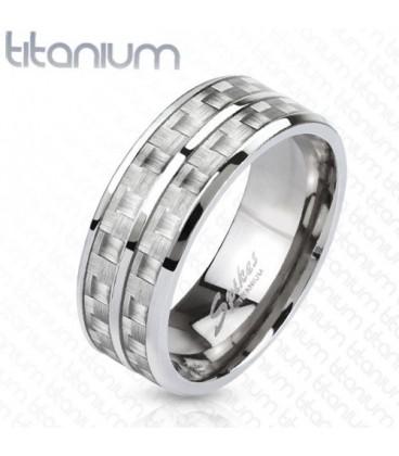 ékszer webshop Dupla soros titánium gyűrű karbon betéttel