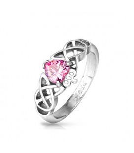 Claddagh nemesacél gyűrű, kelta mintával