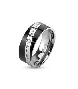 ékszer webshop Férfi karikagyűrű nemesacélból - feliratos