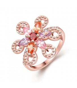 Színes cirkóniavirág, rozé aranyozott koktélgyűrű
