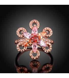 ékszer webshop Színes cirkóniavirág, rózsaaranyozott gyűrű