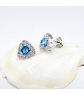 ékszer webshop 925 ezüst háromszög fülbevaló kék-fehér