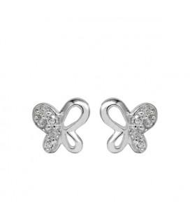 Ezüst lepkék kristályos fülbevaló