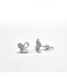 ékszer webshop Ezüst lepkék kristályos fülbevaló