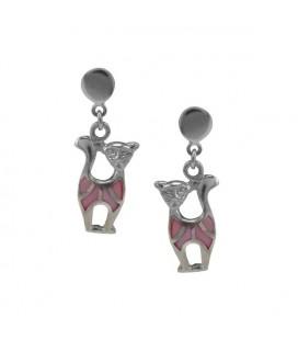 ékszer webshop Színes cica fülbevaló 925 ezüstből