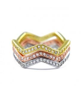 Trikolor, 3 részes ezüst gyűrű szett cirkónia kövekkel