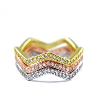 ékszer webshop Hullámos, 3 részes ezüst gyűrű cirkónia kövekkel