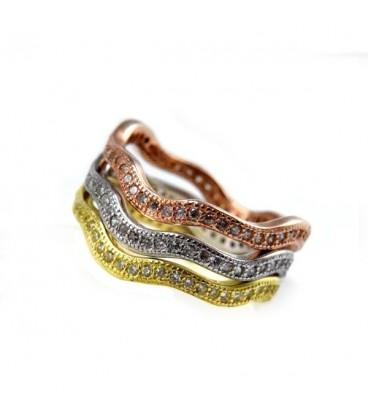 ékszer webshop CZ köves, 3 részből álló hullámos ezüst gyűrű