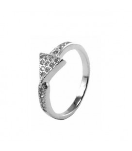 Háromszög ezüst gyűrű CZ kövekkel