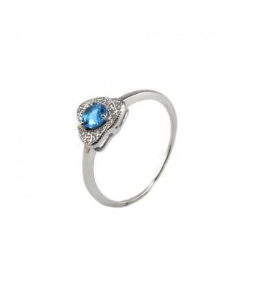 ékszer webshop Háromszög gyűrű ezüstből, tengerkék cirkónia