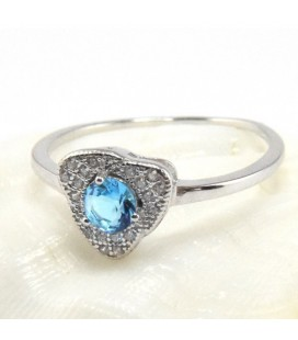 Háromszög gyűrű ezüstből, tengerkék cirkónia kővel