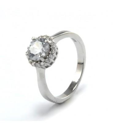 ékszer webshop Elegáns gyűrű ezüstből, fehér cirkónia kővel