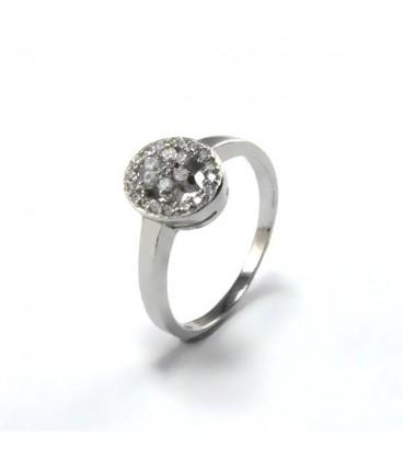 ékszer webshop Elegáns, cirkónia virágos gyűrű - ovális