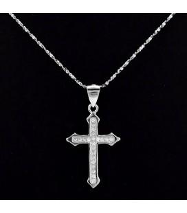 Fehér CZ kristályos kereszt medál, ezüst lánccal
