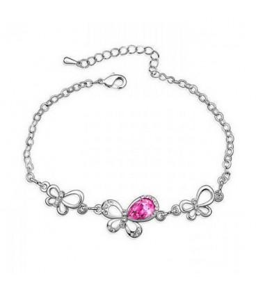 ékszer webshop Rózsaszín kristályos pillangós karkötő