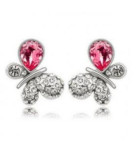 ékszer webshop Rózsaszín kristályos pillangó fülbevaló
