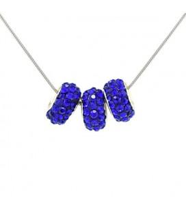Kék kristálykarikák nemesacél láncon