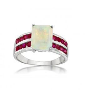 ékszer webshop 925 ezüst gyűrű rubinnal és opál kővel