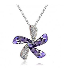 ékszer webshop Lila kristályos szélforgó nyaklánc