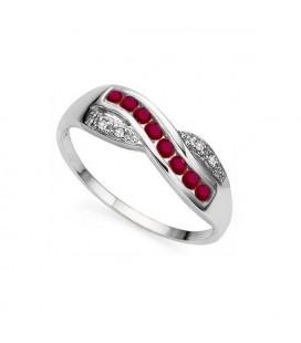 Egyedi 925 ezüst gyűrű rubinnal és CZ kristályokkal díszítve