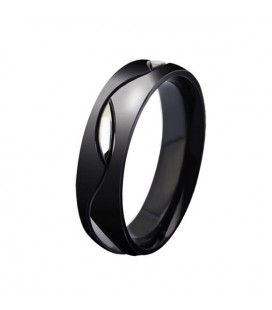 Férfi karikagyűrű nemesacélból, fekete színben
