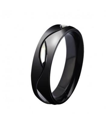 ékszer webshop Férfi karikagyűrű nemesacélból, fekete színben