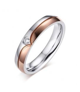 ékszer webshop Rózsaaranyozott női karikagyűrű cirkóniával